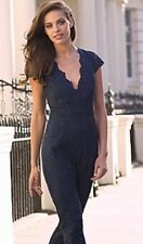 Lipsy Navy Blue Scallop Plunge Lace Jumpsuit Size 12 Dress Party New Year