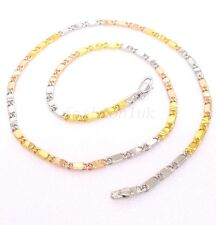 Men Women Unisex New 18K Real Yellow Gold Plated Chain Necklace Xmas 44cm 17.2""