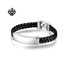 Sliver leather bracelet stainless steel name tag ID black chain