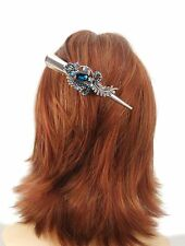 Silver Ornate 13.5cm Concorde Beak Clip Hair Accessory Turquoise Crystal Design
