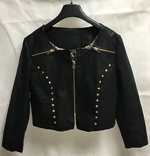 Women's Black PU Faux Leather Studded Jacket. Leopard Print inside. Size UK 10.