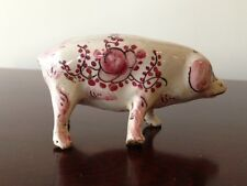 Antique (1800's) French Hand Painted Miniature Porcelain Pig Figurine