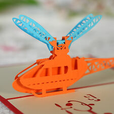 3D Pop Up Greeting Card helicopter Handmade Birthday Easter postcards gift