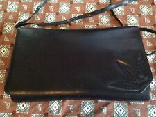Vintage Bally Calfskin Leather Blue Clutch Shoulder Bag FLOWER Emblem LADIES BAG