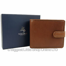 New Mens QUALITY VICENZA ITALIAN Leather Wallet in TAN by VISCONTI Gift Boxed