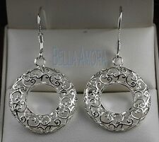 925 Stamped Silver Filigree Eternity of Life Hoop Round Earrings Drop Dangle -54