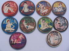 October 1951 sample set cerámica poker chips 10 unid.