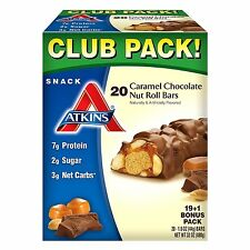 Atkins Bars Protein Snack Foods Caramel Chocolate Nut Roll Pack (20 Bars ) Diet