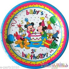 DISNEY BABIES Mickey and Minnie LARGE PAPER PLATES ~ 1st Birthday Party Supplies