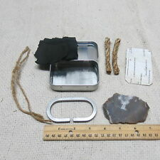 Flint and Steel Fire Starter Set with Hinged Tin, C-Shaped Firesteel and Tinder
