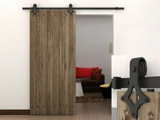 6 FT Dark Coffee Country Barn Wood Steel Sliding Door Closet Hardware Track Set