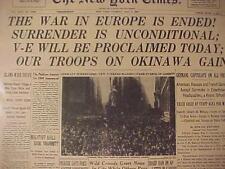 VINTAGE NEWSPAPER HEADLINE~WORLD WAR 2 NAZI GERMANY SURRENDERS V-E DAY WWII ENDS