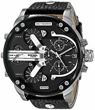 Diesel Men's DZ7313 Four Time Zone Chronograph Black Dial Black Leather Watch