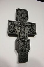 Wooden Carved Cross Bog Oak Antique wood. Wall cross. Rare. Orthodox.