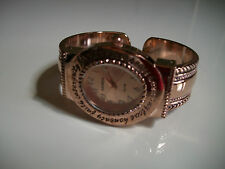 LADIES WESTERN STYLE ROSE GOLD FINISH BANGLE CUFF FASHION WATCH