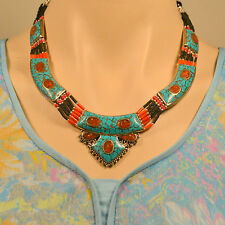 For Sale 25% Off NL-115 Antique Style Handmade Coral Turquoise Tibetan Necklace