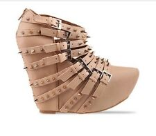 Jeffrey Campbell Zip 2 Nude Studded Spike Wedge US 7 Rare