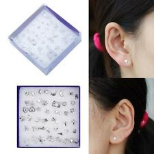 Hot 24 Pairs Wholesale Mix Silver Plated Plastic Ear Stud Earring Set Jewelry