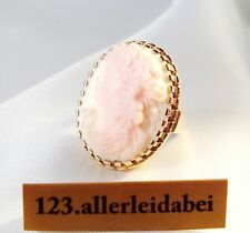 Großer Gemme Ring Rotgold 585 Gold Kamee Cameo Pink Shell Strombus gigas / ZZ074