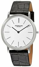 Stuhrling 601 33152 Men's Ascot Swiss Quartz Ultra Thin Black Leather Watch