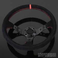 350mm Alcantara Suede/JDM Red Stitching 6-Bolt Deep Dish Drifting Steering Wheel