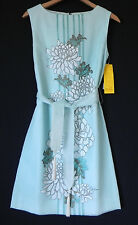 new alfred shaheen Dress hand painted in hawaii sleeveless size6 Light blue