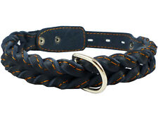 "Genuine Leather Dog Collar 17""-21"" neck Braided Amstaff Doberman Labrador"