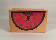 HTF Sun Face Rubber Mounted Stamp Celestial Laurel Burch Designs 972F NEW