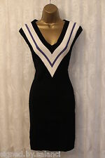 Karen Millen Plate Colour Stripe Pencil Sporty Knit Bodycon Stretch Dress 10 38