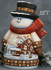 Ceramic Bisque Ready to Paint Medium House Scene Snowman Clipin light/bulb incl.