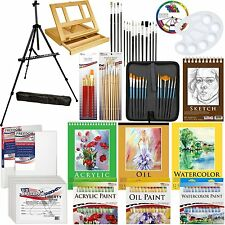 US Art Supply 132-Piece Deluxe Artist Painting Set with Aluminum & Wood Easel