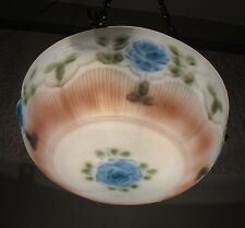 """Antique 16"""" Reverse Painted Puffy Roses Chandelier Hanging Light Shade"""