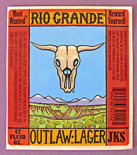 Rio Grande OUTLAW LAGER beer label NM 12 oz STICKER