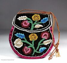 Antique Native American Iroquois Indian Beaded Purse Pouch Bag Beadwork 1800
