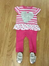 Baby Girls Size 3-6 Months Pink & White Top, Leggings All In 1 & Shoes - BNWT