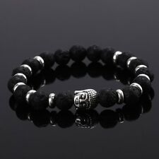 DF4 Natural Lava Stone Beads Black & Silver Buddha Stretch Bracelet