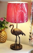 Large 55cm Pink Bronze Gold Flamingo Birds Tropical Pineapple Style Table Lamp