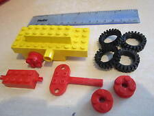 LEGO Wind up Clockwork Yellow Motor Car / Truck / Train / Railway with Red Key
