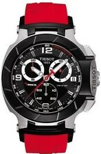 T0484172705701 Tissot T-Race Chronograph Red Rubber Strap Men's Watch black new