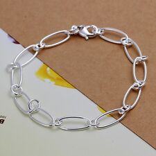 New Women Jewelry 925 Sterling Silver Plated Oval Thin Chain Bracelets Jewelry