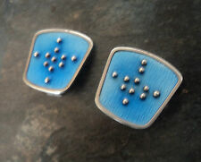Norwegian Sterling Silver Blue Enamel Abstract Earrings - Karl Rasmussen Norway