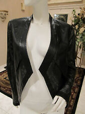 BCBG MaxAzria Luke Perforated Laser Cut Cropped Faux Leather Jacket Black *Small