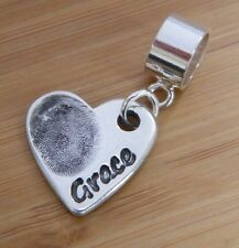 FINGERPRINT JEWELLERY- Personalised silver fingerprint CHARM WITH CHARM CARRIER