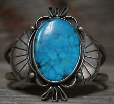 Old Pawn Native American Navajo Sterling Turquoise Cuff Bracelet Men's Size