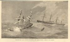 1872 STEAM SHIP BALTIC RESCUING CREW OF ASSYRIA DURING A STORM IN THE ATLANTIC
