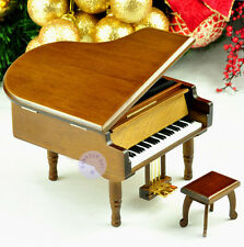 "Play ""Rock a Bye Baby"" Wooden Piano Music Box With Sankyo Musical Movement"