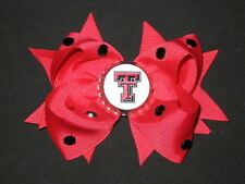 "NEW ""TEXAS TECH Raiders"" University Girls Ribbon Hair Bow Rhinestone Clip NCAA"