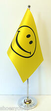 Smiley Face Satin Flag with Chrome Base Table Desk Flag Set