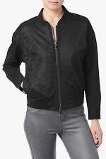 NWT 7 FOR ALL MANKIND SzS LACE-OVERLAY FULL ZIP BOMBER JACKET BLACK $385