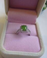 Certified 3CT HeTian Jade (He Tian Bi Yu) sterling silver Ring adjustable size